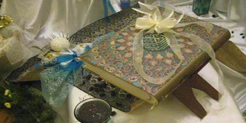 تزیین قرآن سفره عقد-تزیینات قرآن سفره عقد