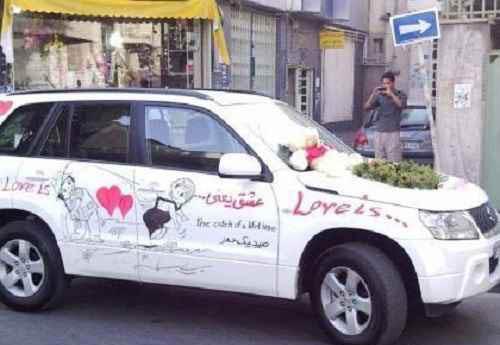 ماشین عروس عجیب-گل آرایی ماشین عروس